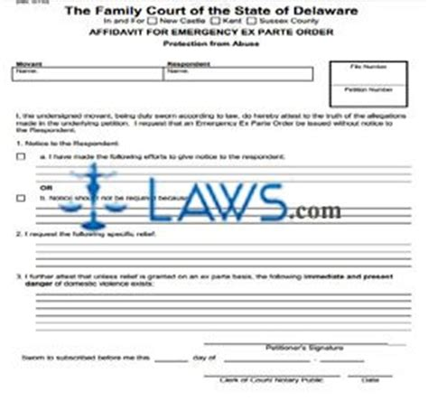 ex parte order form 654 affidavit for emergency ex parte order delaware forms laws com