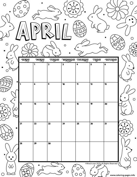 april calendar easter coloring pages printable