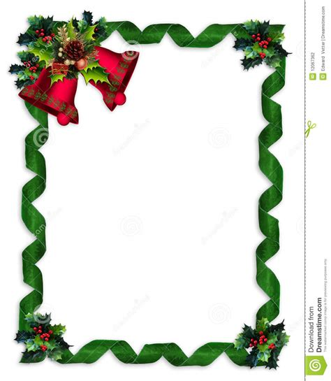 christmas border holly bells  ribbons stock