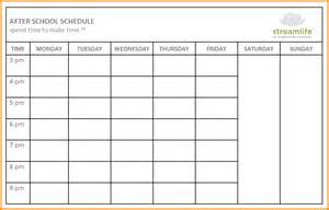 Blank School Class Schedule Template