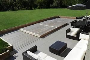Piscine Avec Terrasse Bois : terrasse piscine mobile le rolling deck piscinelle ~ Nature-et-papiers.com Idées de Décoration