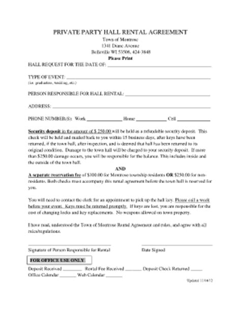 event rental form fill  printable fillable