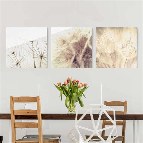 Wandbilder Aus Glas by Glasbild Mehrteilig Pusteblumen Und Gr 228 Ser 3 Teilig