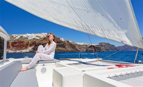 Catamaran Cruise Santorini Sunset by Santorini Caldera Yacht Cruises Catamaran Sailing Tours