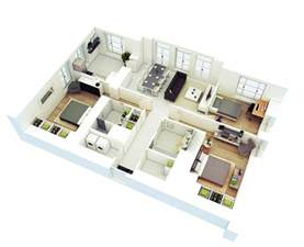 Small Rectangular Living Room Layout by 25 More 3 Bedroom 3d Floor Plans Architecture Amp Design