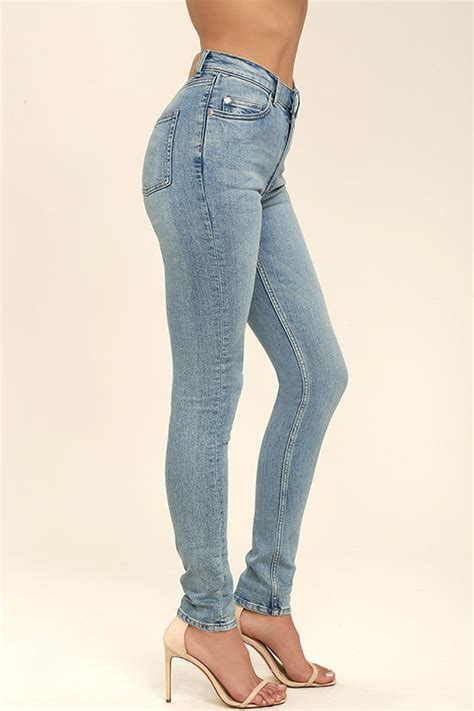 cheap light blue skinny jeans cheap monday second skin high waisted jeans skinny