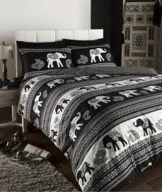 empire indian elephant animal print king bed duvet quilt cover bedding set black ebay