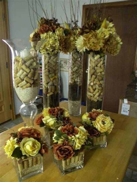 wine cork centerpieces  weddingbut  purple