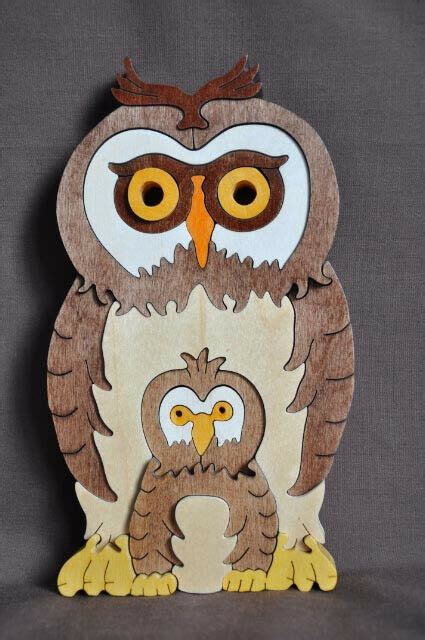fun owl  baby amish  usa wooden  puzzle toy ebay