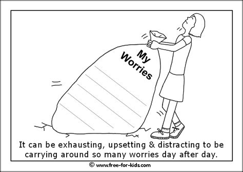 printable colouring sheets  anxiety worry page