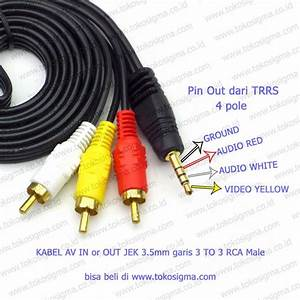 Kabel Av In Or Out Jek 3 5mm Garis 3 To 3 Rca Male