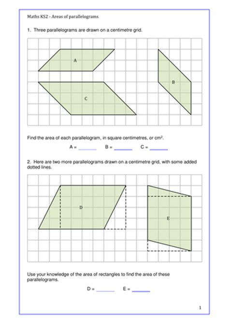 maths ks2 area of parallelograms set of activities to engage the learners year 6 and above by