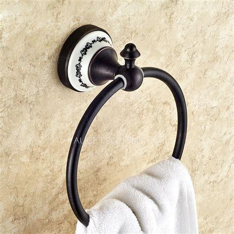 unique black ceramic decorative bathroom towel rings
