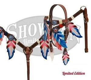 foto de Showman RED WHITE & BLUE Feather Headstall and Breast