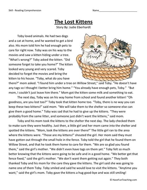 reading comprehension worksheet the lost kittens