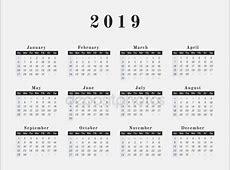 Jaarkalender 2019 — Stockvector © kerdazz7 #153385468