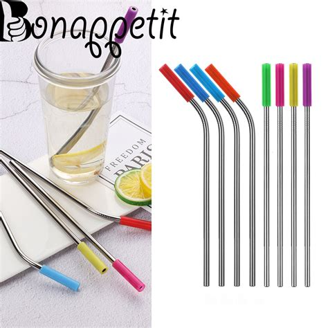 Reusable straws let you get your slurp on, but what material is best? New 8pcs Drinking Straw For Tea Coffee Wine Stainless ...