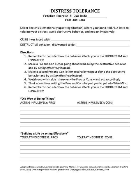Dbt Distress Tolerance  Pros Cons (homework Assignment #3)  Adapted From Marsha M Linehan's