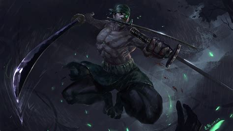 Zorro Animal Wallpaper - 1920x1080 one roronoa zoro swords green