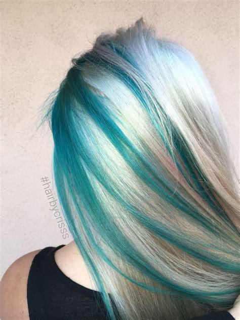 Teal Turquoise Blonde Platinum Mermaid Hair Olaplex