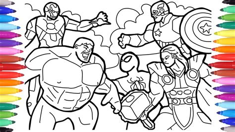 avengers coloring pages coloring the avengers squad spiderman iron man hulk captain america