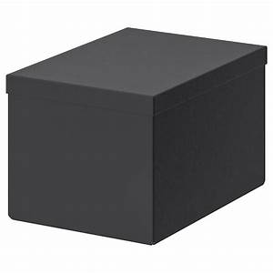 Tjena Storage Box With Lid  Black  18x25x15 Cm