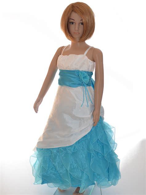 robe cortege pour demoiselle dhonneur enfant turquoise