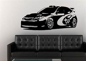 subaru rally car blue transport wall stickers adhesive With car wall decals