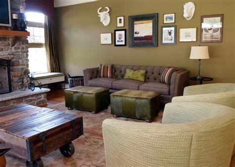 Warm and Rustic Family Room - Eclectic - Living Room
