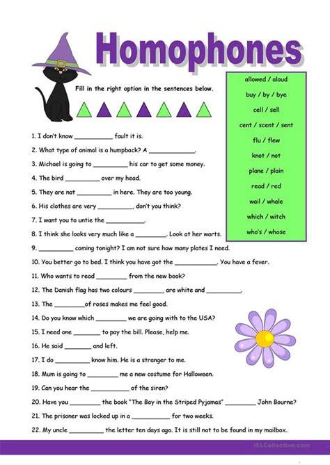 homophones  worksheet  esl printable worksheets