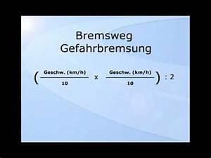 Bremsweg Berechnen : der anhalteweg faustformeln youtube ~ Themetempest.com Abrechnung