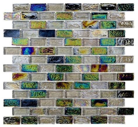 kitchen backsplash diy iridescent glass mosaic tile black blend 1x2 mineral tiles 2209