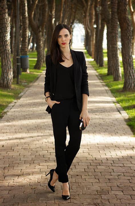 business attire total black office wear  ladies