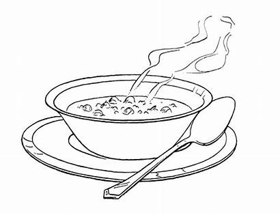 Soup Coloring Pages Bowl Chicken Clipart Drawing