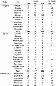 List Of Aquatic Invertebrates Collected From Different