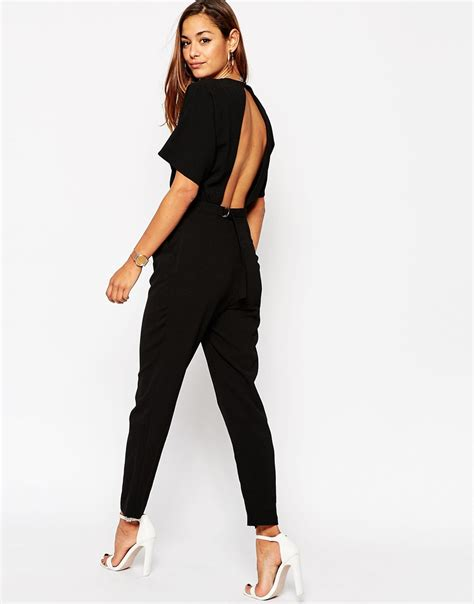asos black jumpsuit asos jumpsuit with kimono sleeve in black lyst