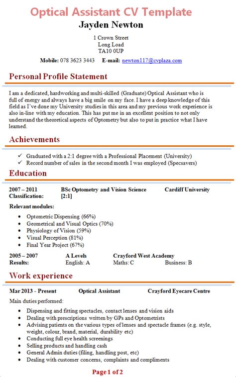 Optometrist Office Assistant Resume by Optical Assisstant Cv Exle