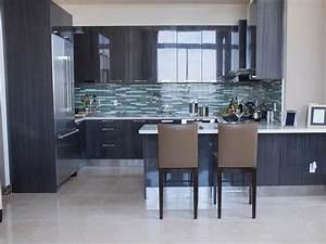 Kitchen Brown Wooden Cabinet With Cream Tiled Back Splash