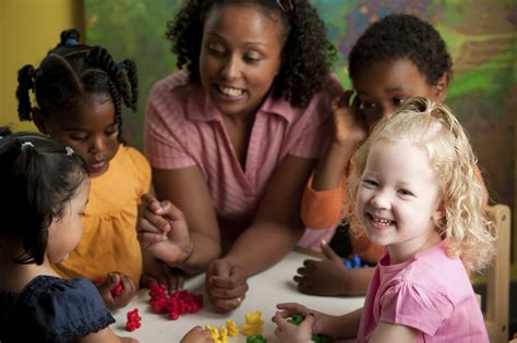 leaps n bounds enrichment preschool home 260 | teacher with diverse preschool children