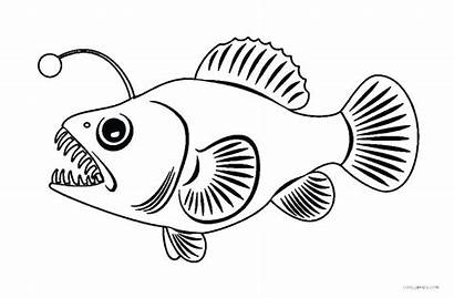 Fish Coloring Angler Pages Fishing Printable Scary