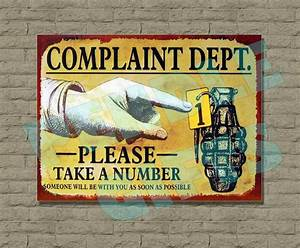 Funny, Metal, Vintage, Retro, Wall, Door, Sign, Plaque, Complaint, Dept