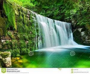 Lake Emerald Waterfalls Forest Landscape Stock Photo ...