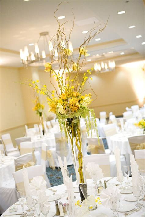 yellow reception wedding flowers wedding decor wedding
