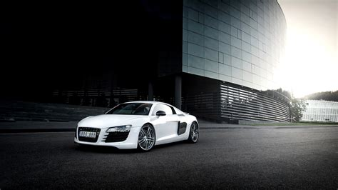 Audi R8 White Car, City, Glare Wallpaper Cars