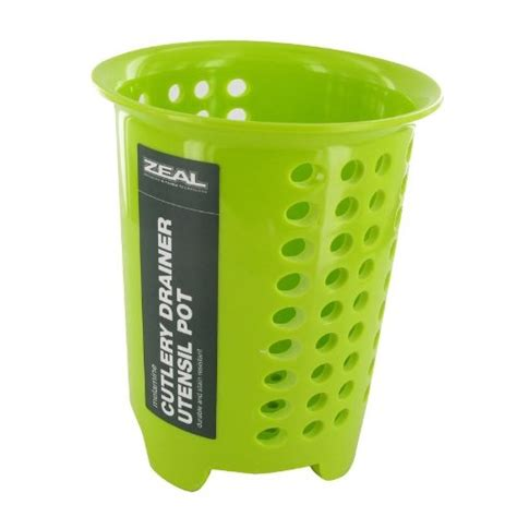 green kitchen utensil holder zeal kitchen lime green melamine durable cutlery drainer 4032