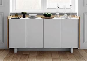 Buffet Blanc Scandinave : buffet bas design scandinave blanc et ch ne 4 portes ~ Teatrodelosmanantiales.com Idées de Décoration