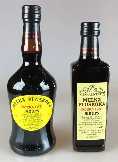 Melnā plūškoka - dzērveņu sīrups - Vējkalnietis
