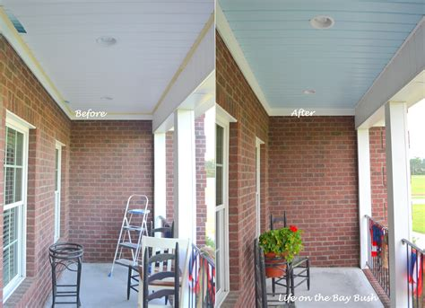 painted porch ceiling on the bay bush