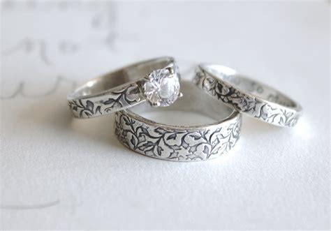 White Topaz Engagement And Wedding Ring Set . Set Of Three