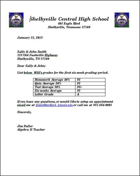 letter  parents  students grades business
